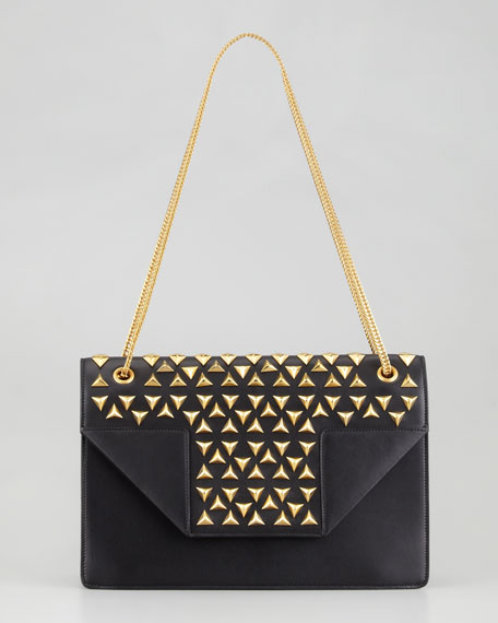 Betty Studded Chain Shoulder Bag, Black