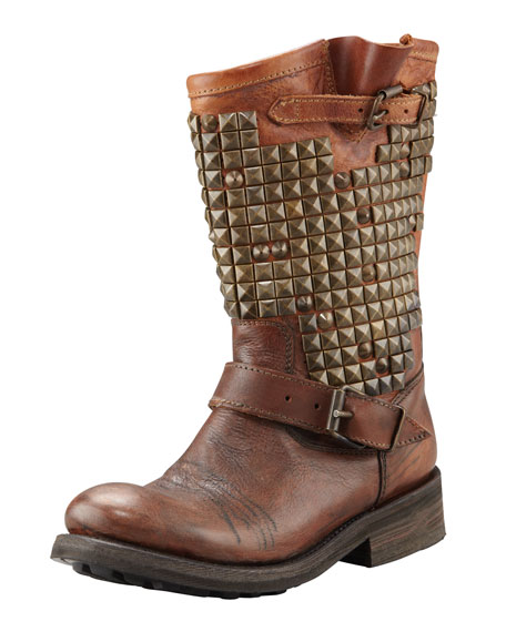 Studded Motorcycle Boot, Miel