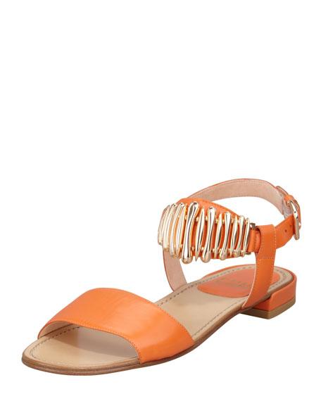 Bars Ankle Horn Flat Sandal, Orange