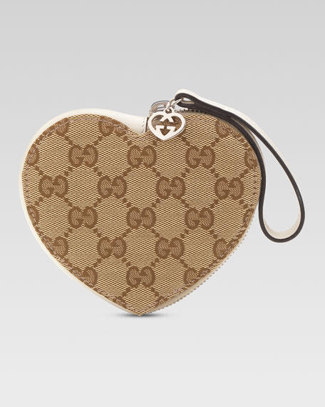 Girls' Micro Guccissima Heart Wristlet, Beige Ebony/White