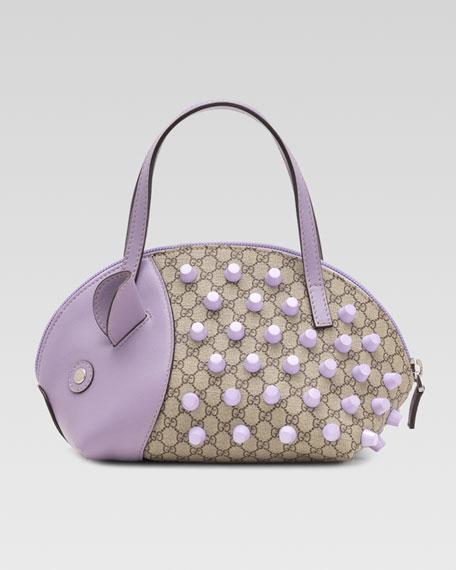 Girls' Porcupine Handbag, Beige Ebony/Glicine