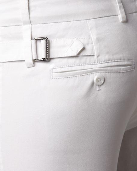 Side-Buckle Bermuda Shorts, White