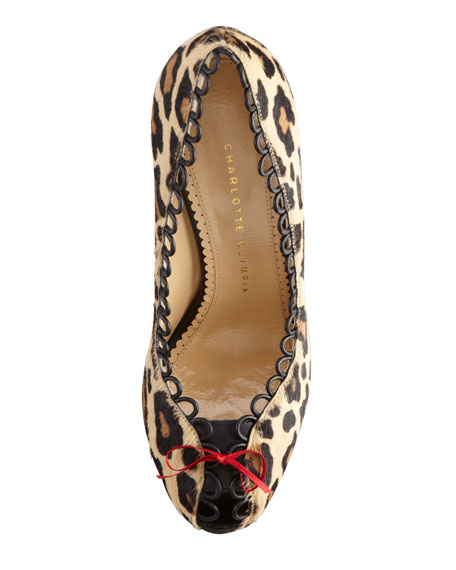 Daphne Leopard-Print Calf Hair Pump