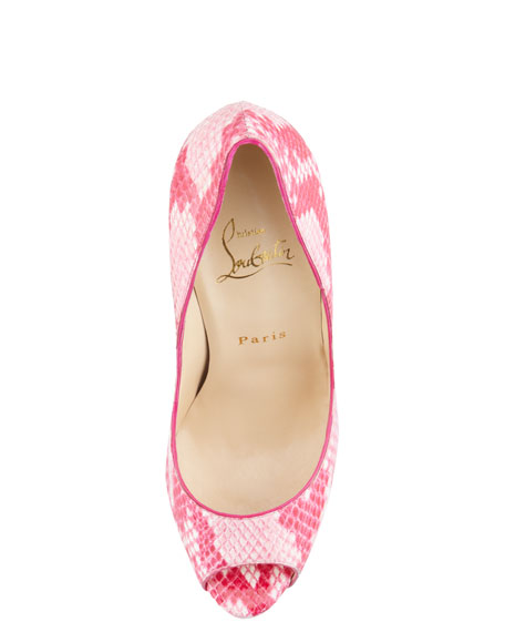 Lady Peep Python Red Sole Pump, Rose