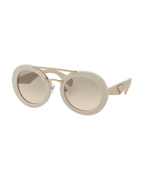 Round Acetate Brow-Bar Sunglasses
