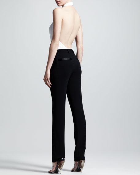 Stretch-Cady Slim Tuxedo Pants