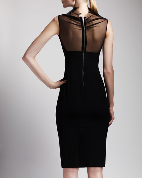 Sheer-Neck Back-Zip Dress