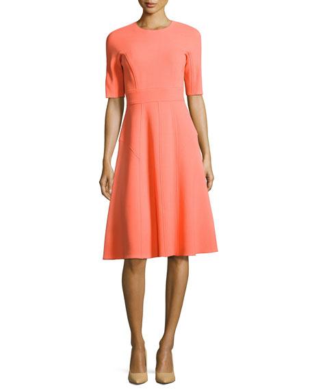 Half-Sleeve Wool Crepe Dress, Pink