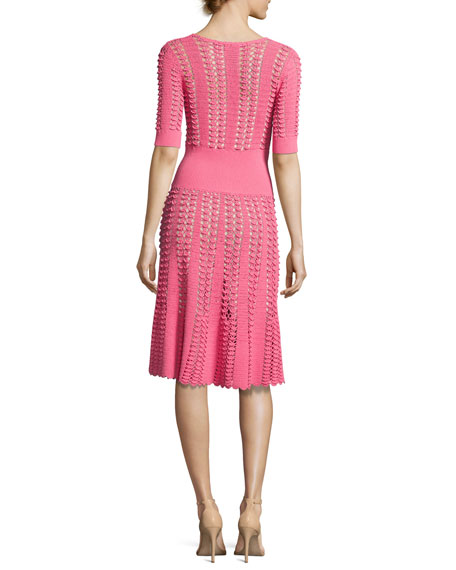 Hand-Crochet Half-Sleeve Dress, Pink
