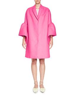 Linen Frill-Sleeve Coat, Fuchsia