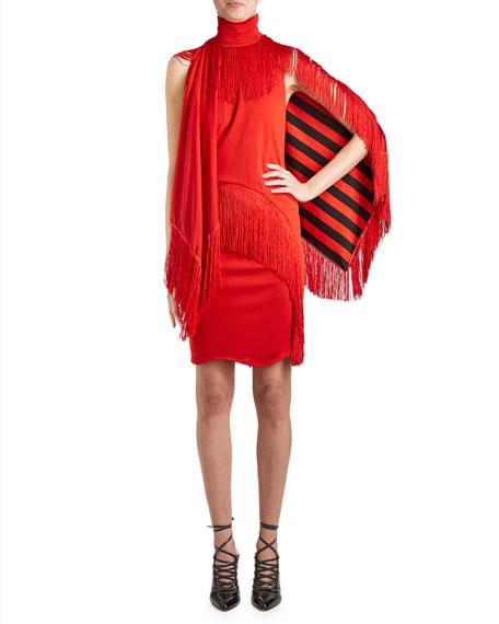Fringed Mock-Neck Dress w/Cape, Red