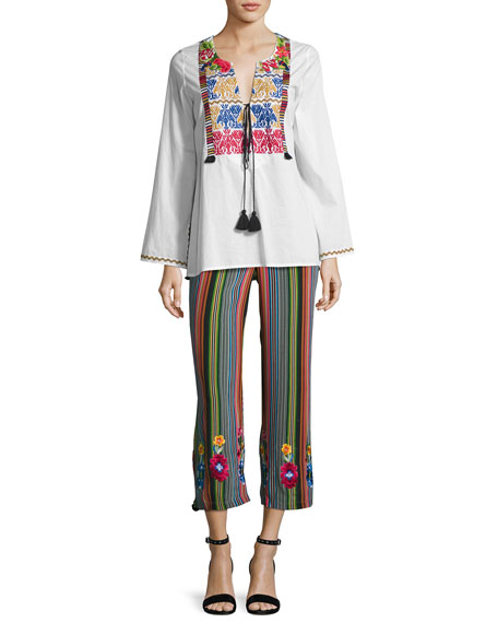 Goa Striped Silk Pants, Multi