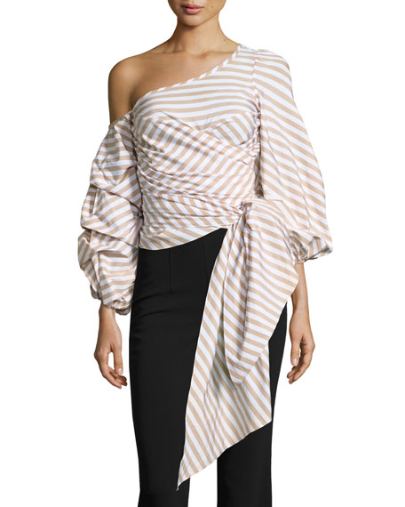 Leticia Pinstripe Off-Shoulder Wrap Blouse