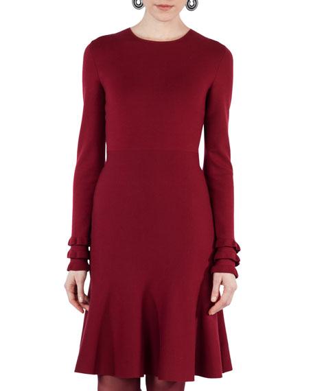 Knit Wool Ruffle-Cuff Dress