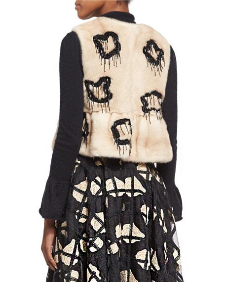 Embellished Mink Fur Vest, Natural