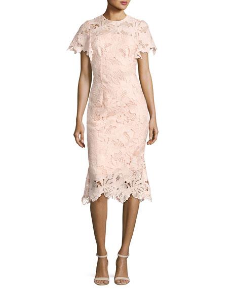 Leaf Guipure Lace Ruffle Dress, Blush