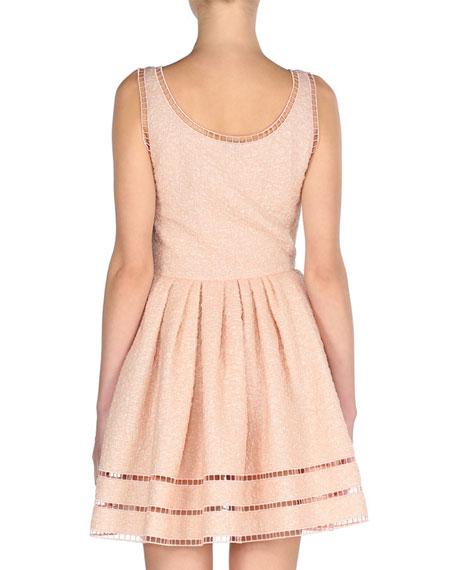 Sleeveless Jacquard Dress w/Mink Fur Trim, Pink