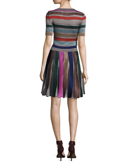 Short-Sleeve Metallic Stripe Dress, Multi