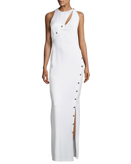 Asymmetric Button-Trim Column Gown