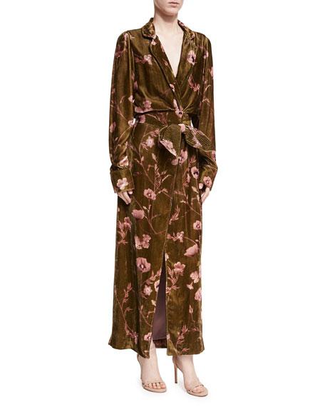 Florari Floral Velvet Belted Kimono Jacket