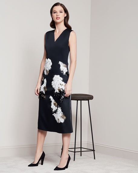 Sleeveless Embellished V-Neck Cocktail Dress