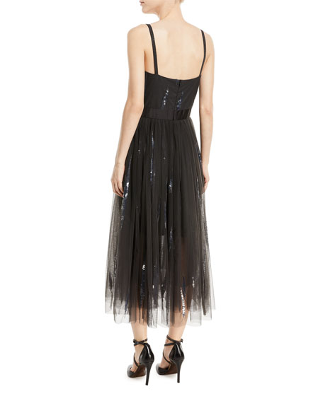 Paillette-Embroidered Dress w/ Tulle Skirt