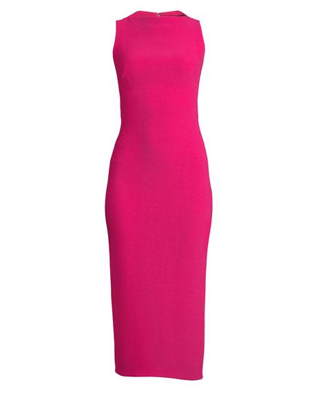 Sleeveless Boat-Neck Double-Face Crepe Sheath Midi Dress