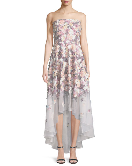 Badgley Mischka Couture Floral-Embroidered Strapless High-Low Gown