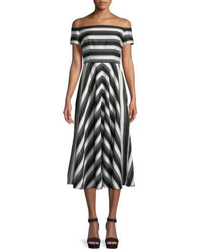 Off-the-Shoulder Striped Fit-and-Flare Dress