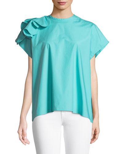 Poplin Bow-Shoulder Dress