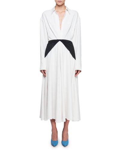 Long-Sleeve Silk Twill Midi Dress with Contrast Panel