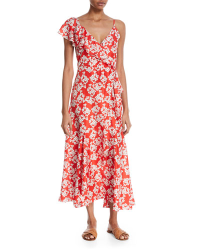 Isadora Floral Long-Sleeve Wrap Dress