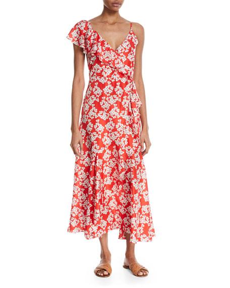 Isadora Floral Long-Sleeve Wrap Dress