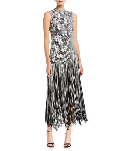Sleeveless Houndstooth Fringe Woven Dress
