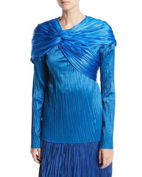 Pleated Satin Twist Drape Long-Sleeve Top