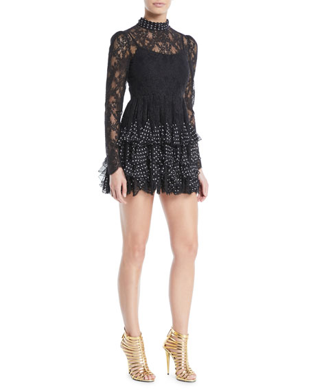 Camellia Lace Long-Sleeve Tiered Polka-Dot Mini Cocktail Dress