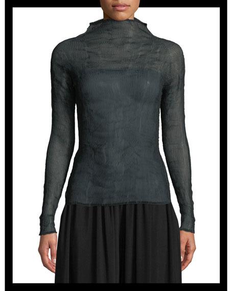 Mock-Neck Long-Sleeve Sheer Chiffon Plisse Top