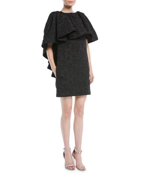 High-Neck Ruffle Floral-Jacquard Mini Dress