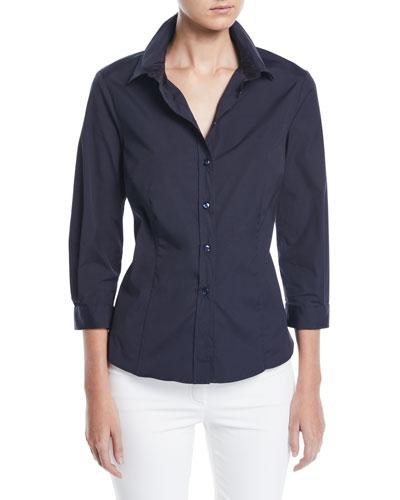 3/4-Sleeve Button-Front Cotton Blouse