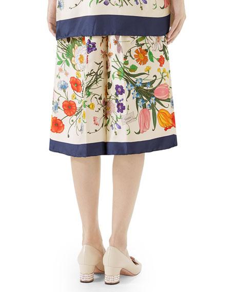 Floral-Print Silk Twill Cropped Pajama Culottes