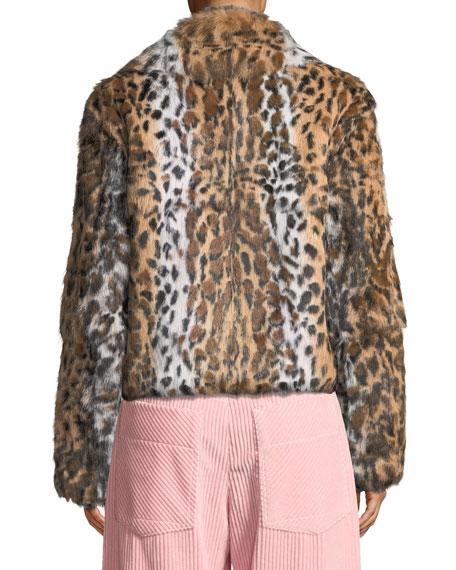 Leopard-Print Zip-Front Cropped Jacket