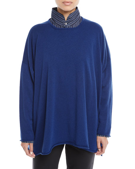 Image 1 of 1: Round-Neck Long-Sleeve A-Line Cashmere Sweater