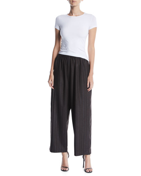 Striped Wide-Leg Cashmere Trousers w/ Ankle Slit