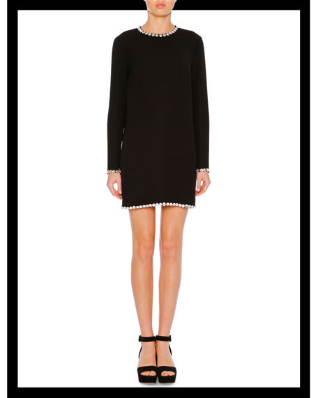 Jewel-Neck Long-Sleeve A-Line Crepe Mini Dress w/ Embellishments