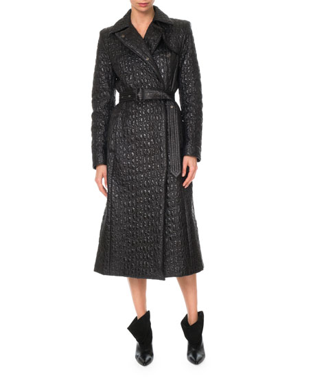 Double-Breasted Croc-Effect Shell Trench Coat in Black