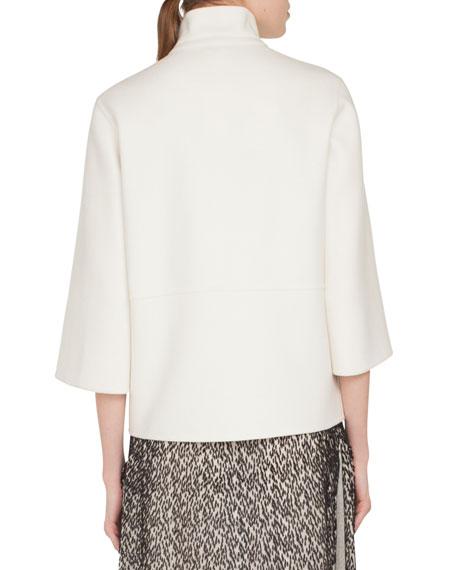 Rocky Bracelet-Sleeve Hotel Facade Embroidered Wool-Blend Jacket