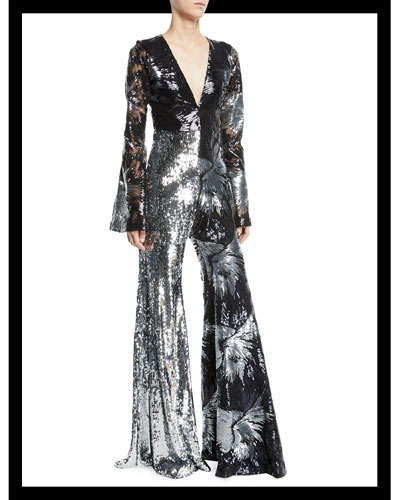 Deep-V Long-Sleeve Starburst-Sequin Flared-Leg Jumpsuit
