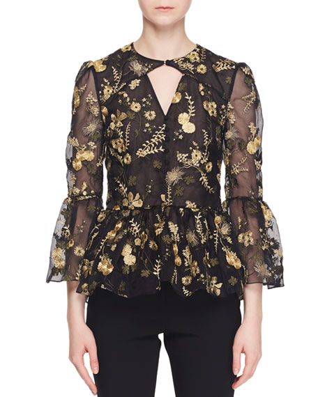 Image 1 of 1: Demetria Bell-Sleeve Floral-Embroidered Silk Organza Blouse