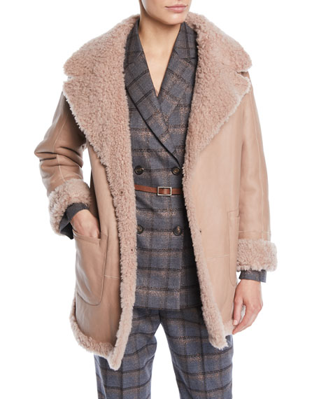 Curly Hair Shearling & Suede Reversible Coat w/ Pockets
