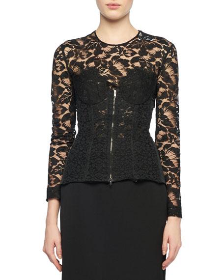 long-sleeve-zip-front-lace-bustier-top by stella-mccartney